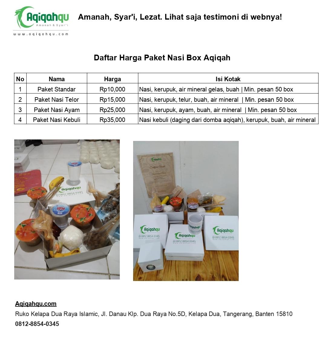 Daftar Harga Paket Nasi Box Aqiqah